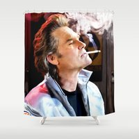 kurt rahn Shower Curtains featuring Kurt Russell as Stuntman Mike McKay in the film Death Proof (Quentin Tarantino - 2007) by Gabriel T Toro