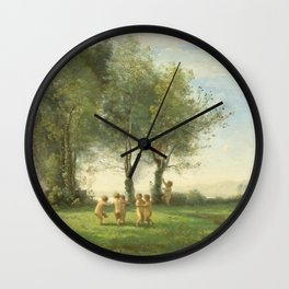 "Jean-Baptiste-Camille Corot ""Ronde D'Amours; Lever du Soleil"" Wall Clock"