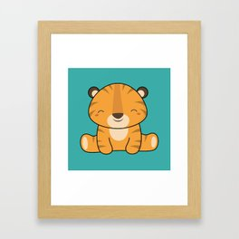 Kawaii Cute Baby Tiger Framed Art Print
