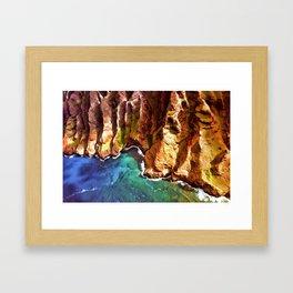 Tropical Coastline Hawaii of the Isolated Napali Coast Framed Art Print