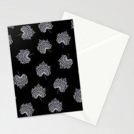 Ultra-Violet and Black Maple Leaf Pattern Stationery Cards