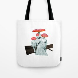 amanita muscaria with children Tote Bag