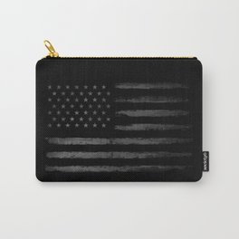 Grey Grunge American flag Carry-All Pouch