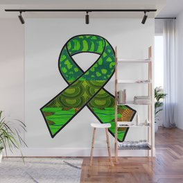 Green Retro Awareness Ribbon Wall Mural