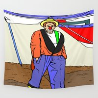 clown Wall Tapestries featuring clown by Karl-Heinz Lüpke