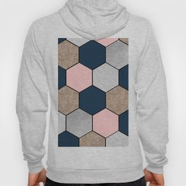 Navy and peach marble and foil hexagons Hoody