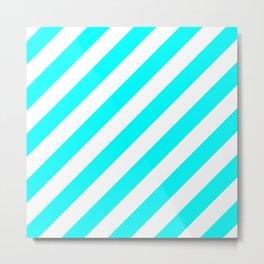 Diagonal Stripes (Aqua Cyan/White) Metal Print