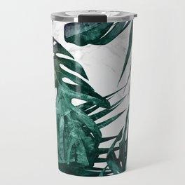 Tropical Palm Leaves on Marble Travel Mug