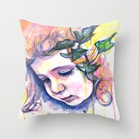poison ivy Throw Pillows featuring Poison Ivy by Lauralouisa