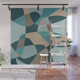 Mid Century Modern Abstract Rock Layers Teal Wall Mural