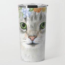 Gray Tabby Cat Floral Wreath Watercolor Travel Mug