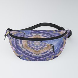 Butterflies against an abstract floral kaleidoscope Fanny Pack