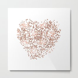Rose Gold Glam Confetti Heart Metal Print