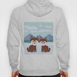 Kawaii funny brown husky dog, face with large eyes and pink cheeks, boy and girl, mountain landscape Hoody