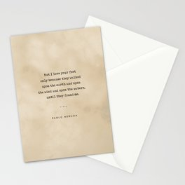 Pablo Neruda Quote On Love 07 - Typewriter Quote On Old Paper - Literary Poster - Book Lover Gifts Stationery Cards