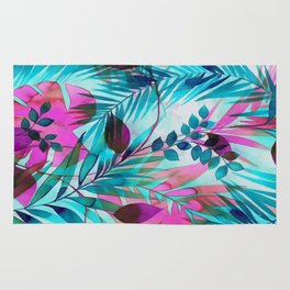 Colorful tropical leaves Rug