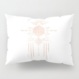 Mandala Flower of Life Moon Pink Rose Gold Pillow Sham
