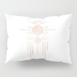 Mandala Flower of Life Moon Pink Rose Gold Pillow Sham