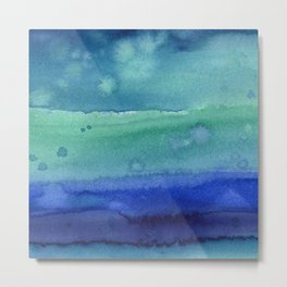 Abstract Blue Horizontal Stripes Watercolor Texture Metal Print