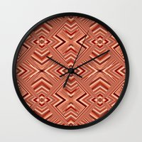 orange pattern Wall Clocks featuring Pattern orange by Christine baessler
