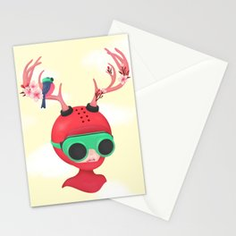 neon deer Stationery Cards