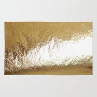 gold foil Area & Throw Rugs featuring Gold Foil by The Wellington Boot