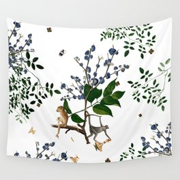 Monkey World: Apy and Vinnie - White Wall Tapestry