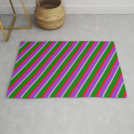 Dark Grey, Green, Red & Dark Orchid Colored Striped/Lined Pattern Rug
