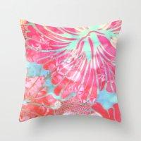 aelwen Throw Pillows featuring Blue Water Hibiscus Snowfall by Vikki Salmela