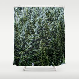 Mountain Mis // Dark Blue and Green Forest of Evergreen Pines Moody Lumberjack Dream Shower Curtain