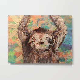 Deconstructed three-toed sloth hanging in a tree Metal Print