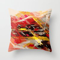 cage Throw Pillows featuring fire cage by Matthias Hennig