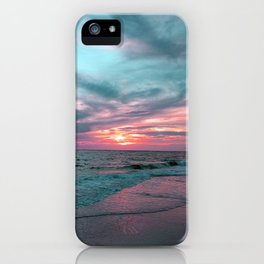 Pink and Teal Beach Sunset tropical vacation iPhone Case