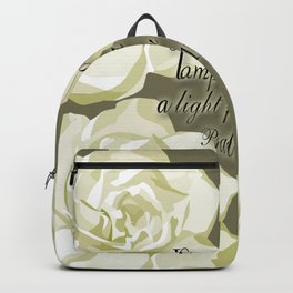 Scripture Gray,White Rose Backpack