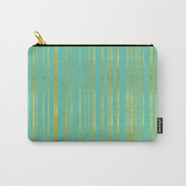 Golden and Turquoise Stripes Pattern Carry-All Pouch