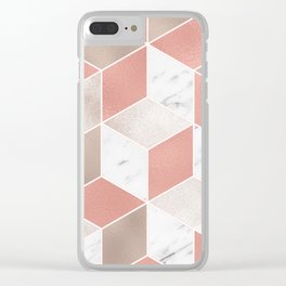 Summer peach marble geometry Clear iPhone Case