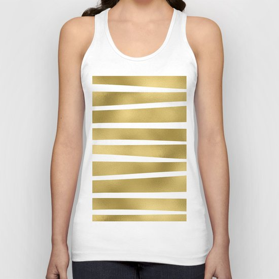Gold unequal glitter stripes on clear white - horizontal pattern Unisex Tank Top