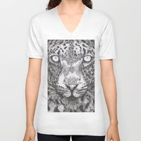 leopard V-neck T-shirts featuring Leopard  by Eugene Lee