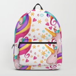 Rainbow Unicorn Colorful Watercolor Pattern Backpack