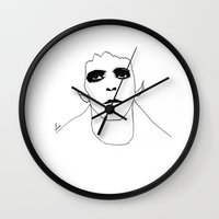lou reed Wall Clocks featuring Lou Reed by Les Gutiérrez