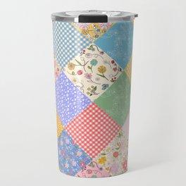 Happy Cottage Diamond Patchwork Quilt Travel Mug