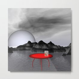 red table and gray landscape Metal Print
