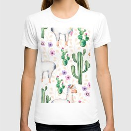 Colorful pattern cactus and lamas pattern T-shirt