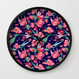 Seamless watercolor pattern red flowers. Wall Clock
