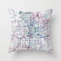 atlanta Throw Pillows featuring Atlanta map by MapMapMaps.Watercolors