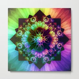 Fleur des Vents, Rainbow Fractal Flower of Winds Metal Print