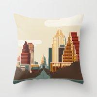 austin Throw Pillows featuring Austin Skyline by Kurtis Beavers
