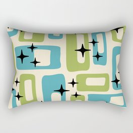 Retro Mid Century Modern Abstract Pattern 225 Blue and Green Rectangular Pillow