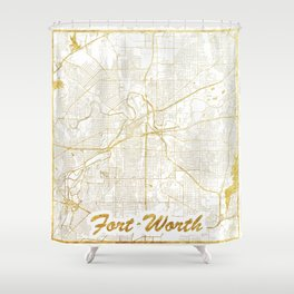 Fort Worth Map Gold Shower Curtain