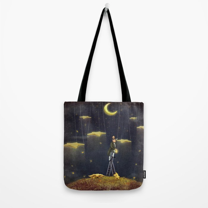 Man reaching for stars  at top of tall ladder Tote Bag